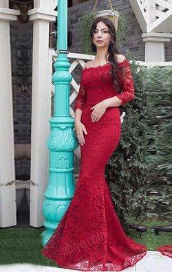 Kırmızı Balık Model Dantelli Abiye
