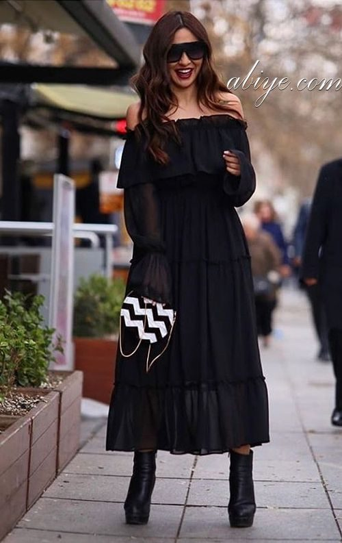 Madonna Yaka Şifon Abiye Elbise