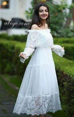 Straplez Model Dantel Tasarım Abiye Elbise