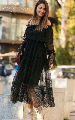 Dantel Tasarım Siyah Abiye Elbise