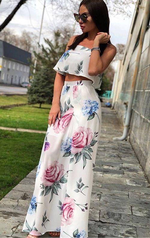 Çiçek Desenli İki Parça Elbise