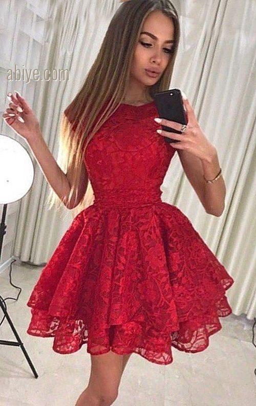 Kırmızı Kat Kat Dantel Abiye Elbise