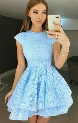 Bebek Mavisi Kat Kat Dantel Abiye Elbise