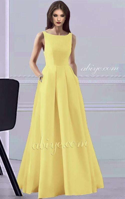 Sarı Elegant Uzun Abiye