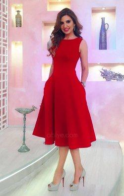 Kırmızı Midi Boy Abiye Elbise