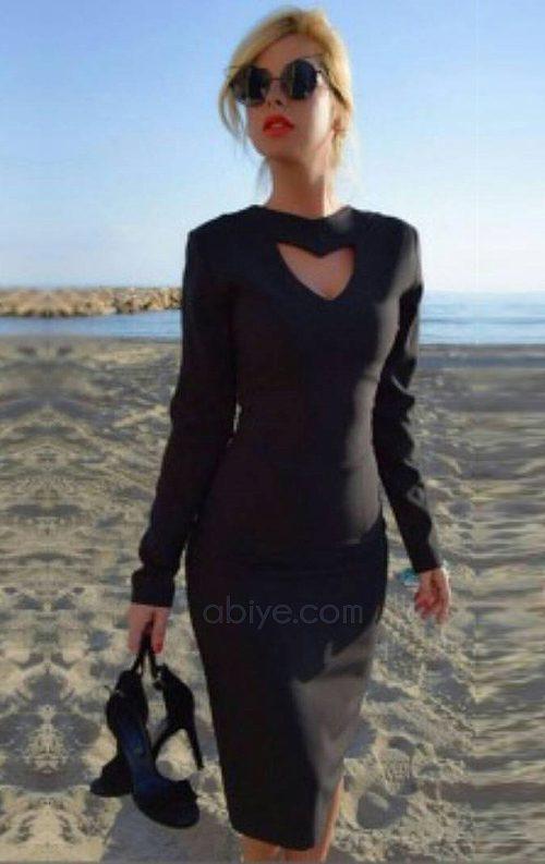 Kalp Dekolteli Midi Abiye Elbise