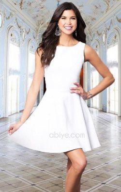 Kolsuz Kloş Beyaz Mini Elbise