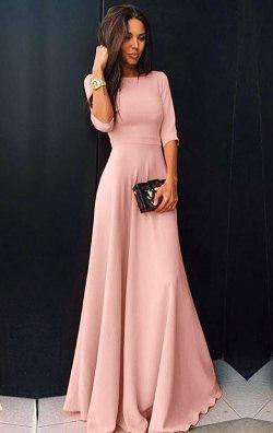 Pudra şık uzun elbise