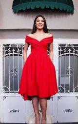 Kırmızı Kalp Yaka Abiye Elbise