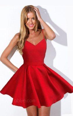 Kırmızı Askılı Kloş Mini Abiye Elbise