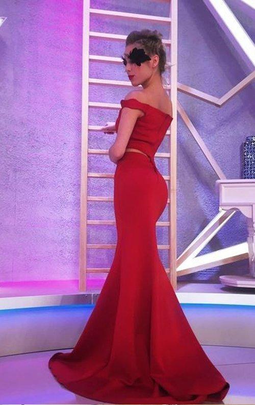 Bordo şık iki parça abiye elbise