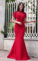 Püsküllü Kırmızı Balık Abiye Elbise