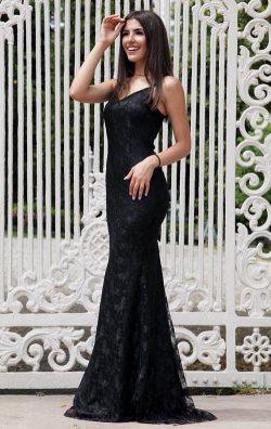Siyah Uzun Dantelli Balık Abiye Elbise