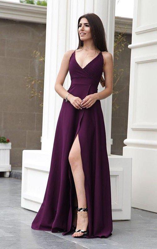 Yırtmaçlı V yaka uzun abiye elbise