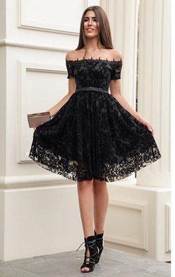 Siyah Flok Baskı Dantel Abiye Elbise