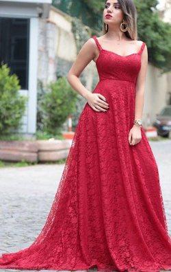 Kırmızı Güpür Dantel Abiye Elbise