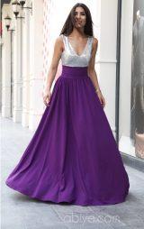 Payetli Uzun Mor Etekli Abiye Elbise