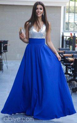 Payetli Uzun Saks Etekli Abiye Elbise
