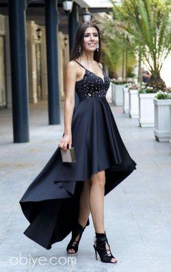 Özel tasarım siyah asimetrik abiye elbise
