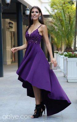 Özel tasarım mor asimetrik abiye elbise