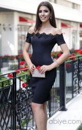 Şerit Dantel Detay Mini Abiye Elbise