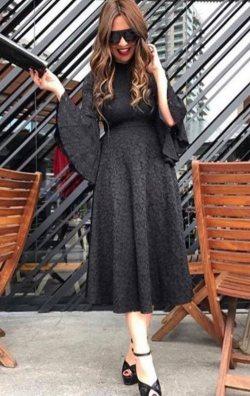 Siyah İspanyol Kollu Dantel Abiye Elbise