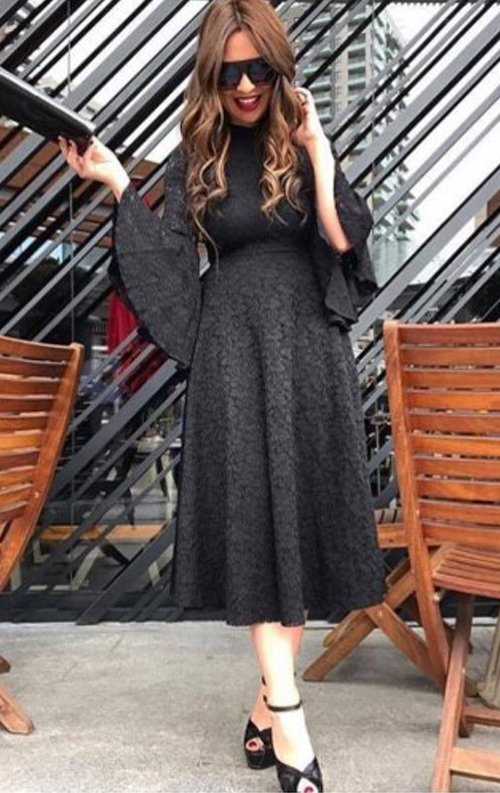 İspanyol Kollu Dantel Abiye Elbise
