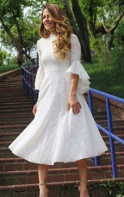 Beyaz İspanyol Kol Dantel Abiye Elbise