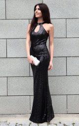 Siyah Payet Damla Model Balık Abiye Elbise