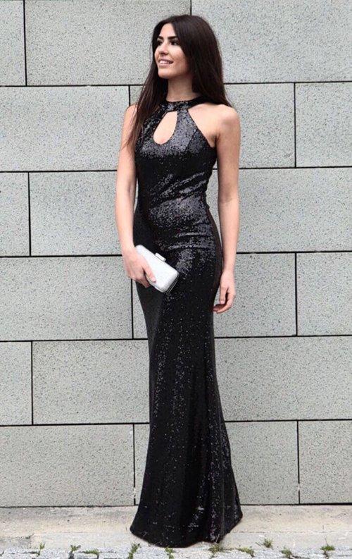 f6335bfbffd95 Siyah Payet Damla Model Balık Abiye Elbise