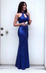 Saks Payet Damla Model Balık Abiye Elbise