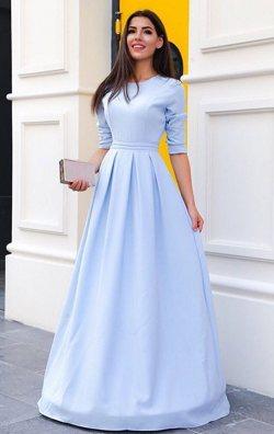 Bebek Mavisi Uzun Pelerinli Abiye Elbise