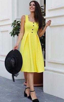 Kare Yaka Sarı Midi Abiye Elbise