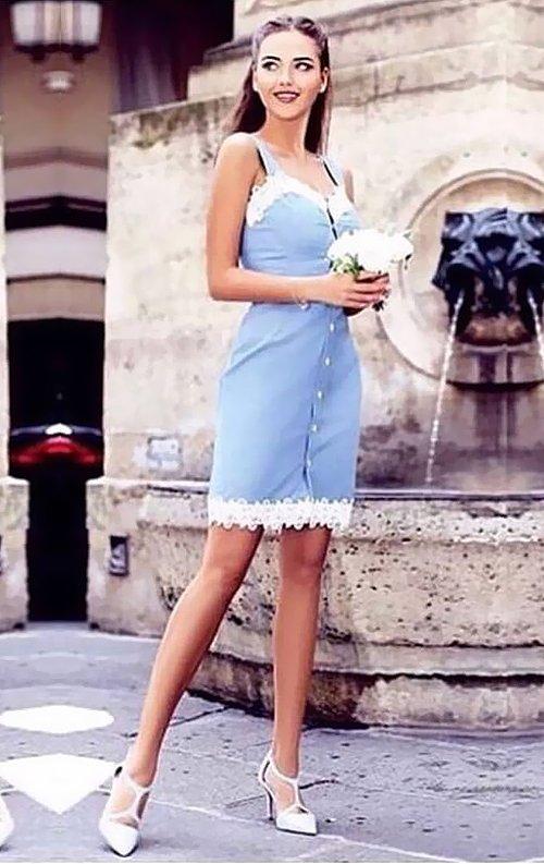 Güpür Detay Mavi Mini Abiye Elbise
