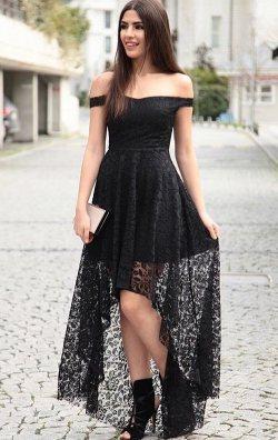 Siyah Asimetrik Dantel Abiye Elbise
