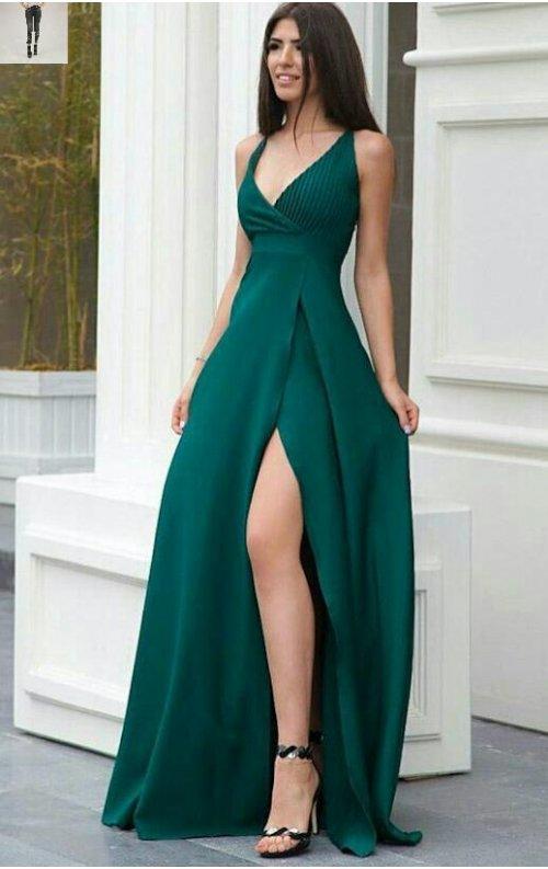 Yeşil Yırtmaçlı V Yaka Uzun Abiye Elbise