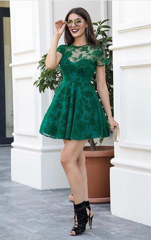 Yeşil Flok Baskı Mini Dantel Abiye Elbise