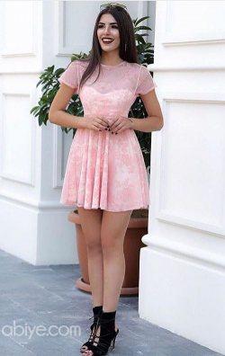 Pudra Flok Baskı Mini Dantel Abiye Elbise