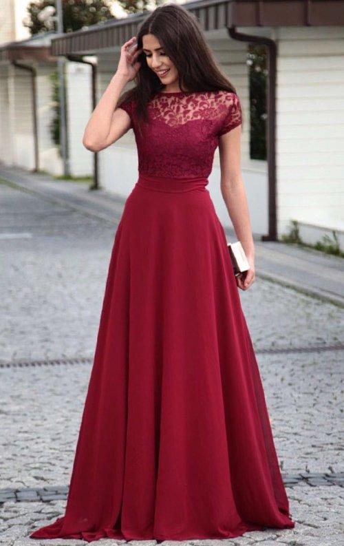 Bordo Dantel Detaylı Şifon Uzun Abiye Elbise